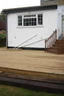 Decking with a step and lights