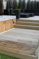 Decking with an outdoor hot tub